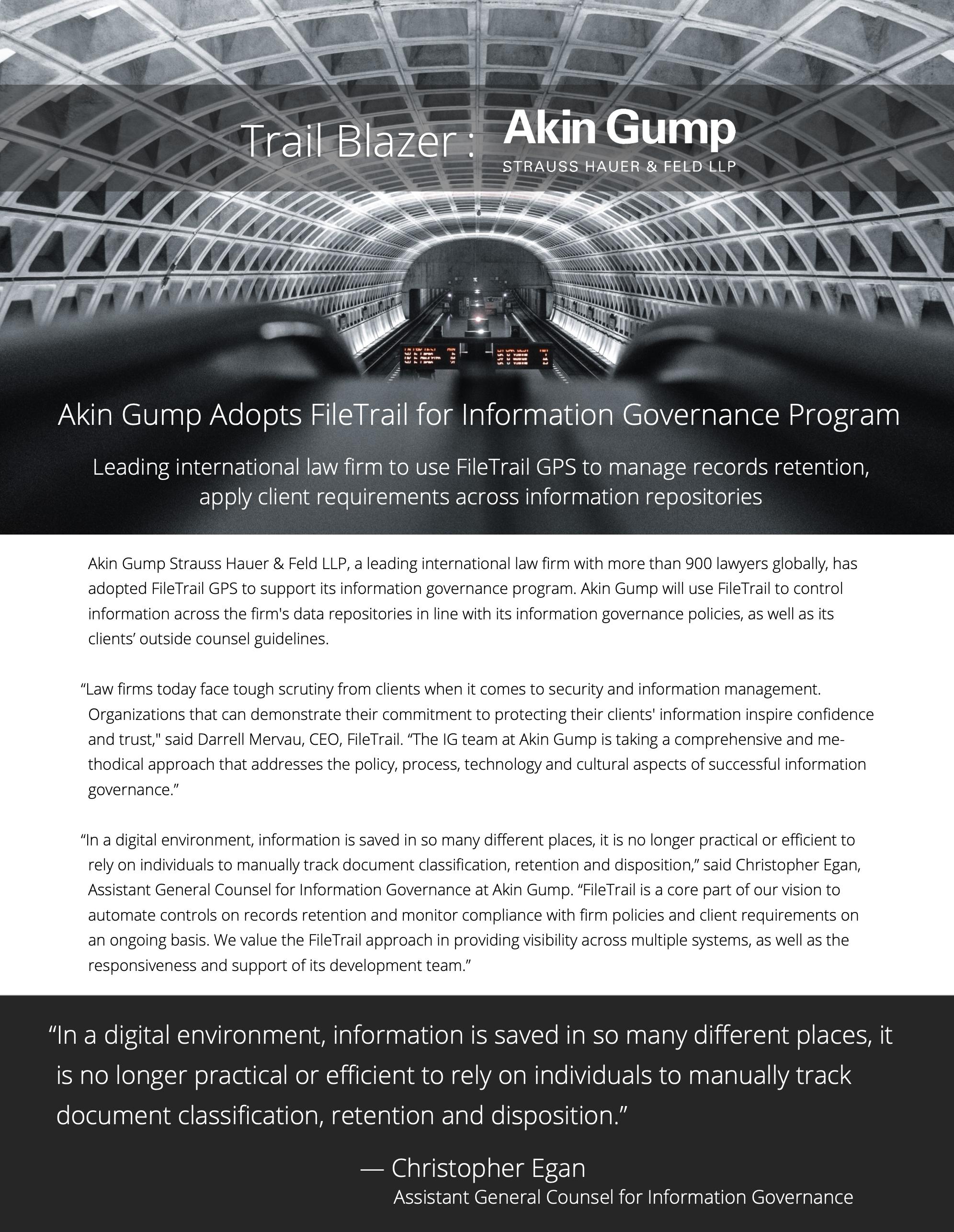 AKin Gump Information Governance Software